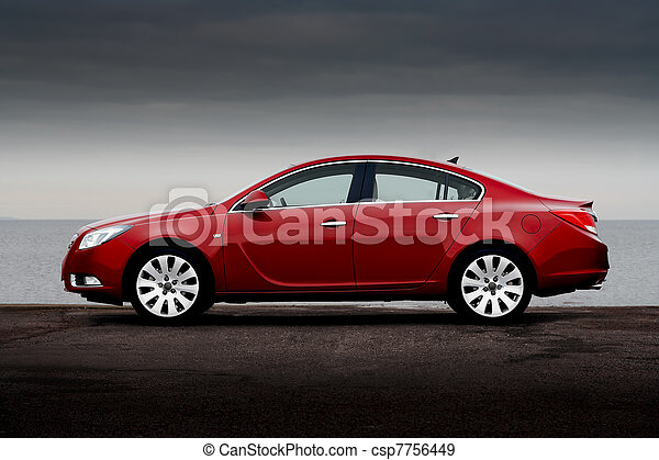 kirschen, Ansicht, Seite, rotes, Auto - csp7756449