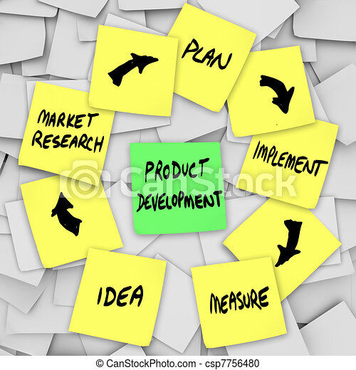 Product Development Diagram Plan on Sticky Notes - csp7756480