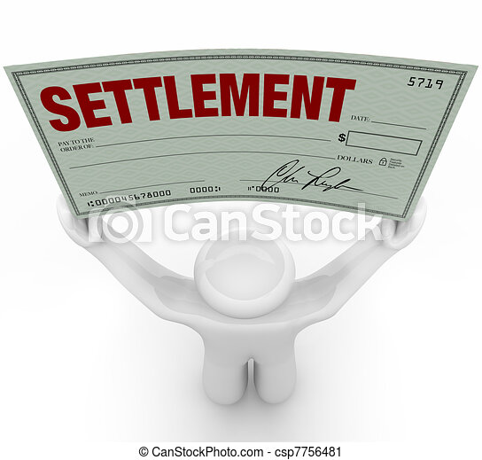 Man Holding Big Settlement Check Agreement Money - csp7756481