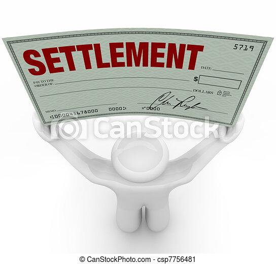 Man Holding Big Settlement Check Agreement Money - csp7756481