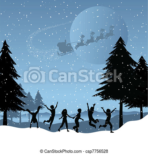 Children playing with santa in the sky - csp7756528