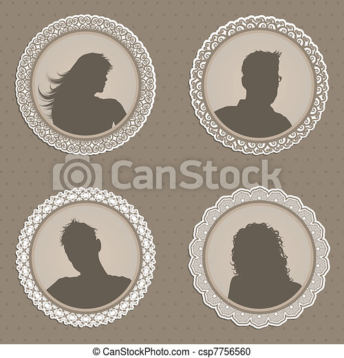 Antique style people avatars - csp7756560