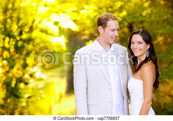 just married couple in honeymoon park - csp7756837