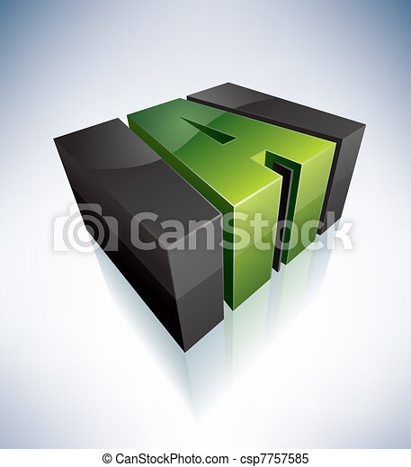 Three-dimensional D Letter - csp7757585