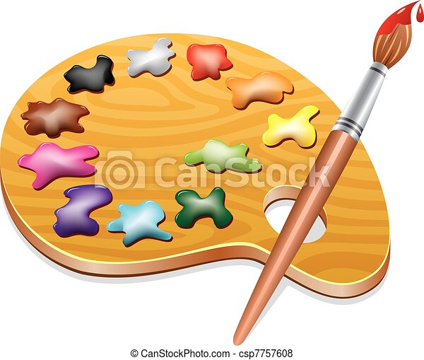wooden art palette with blobs of paint and a brush - csp7757608