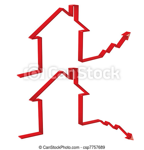 fall and rise of housing prices 3D - csp7757689