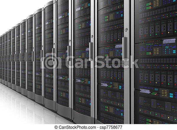 Row of network servers in datacenter - csp7758677