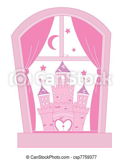 Pink princess castle - csp7759377