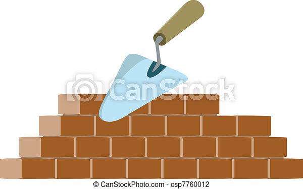 bricklayer and trowel vector - csp7760012