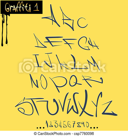 Graffiti font hip hop alphabet - csp7760098