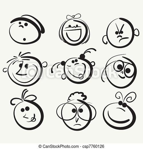 Clip Art Vector of Face icon, happy people cartoon sketch ...