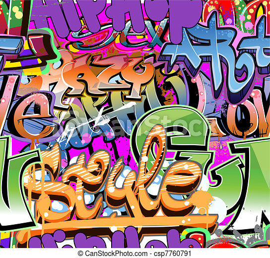 Graffiti wall vector urban hip hop - csp7760791