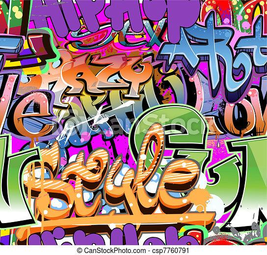 Graffiti wall vector urban hip hop  - csp7760791