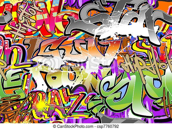 Graffiti wall background - csp7760792