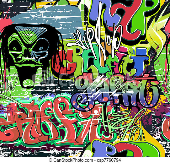 Graffiti wall vector urban hip hop - csp7760794