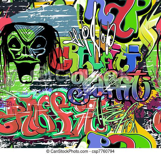 Graffiti wall vector urban hip hop - csp7760794