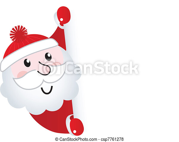 Santa Claus holding blank banner sign, isolated on white   - csp7761278