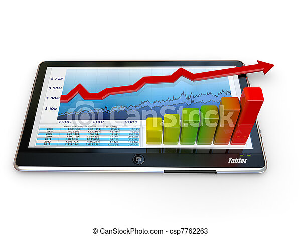 Tablet pc and business graph on the screen - csp7762263