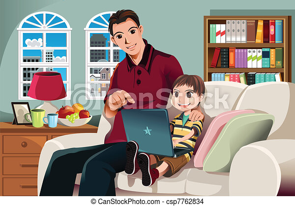 Father and son using computer - csp7762834