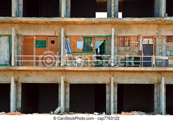 rotten shell of building ocf construction without construction permit - csp7763122