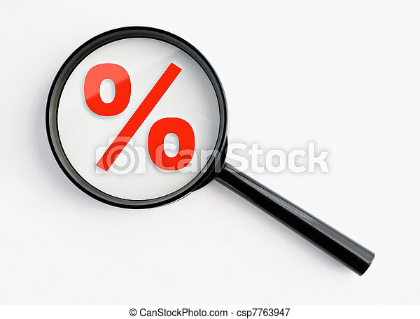 magnifying glass with percentage sign - csp7763947