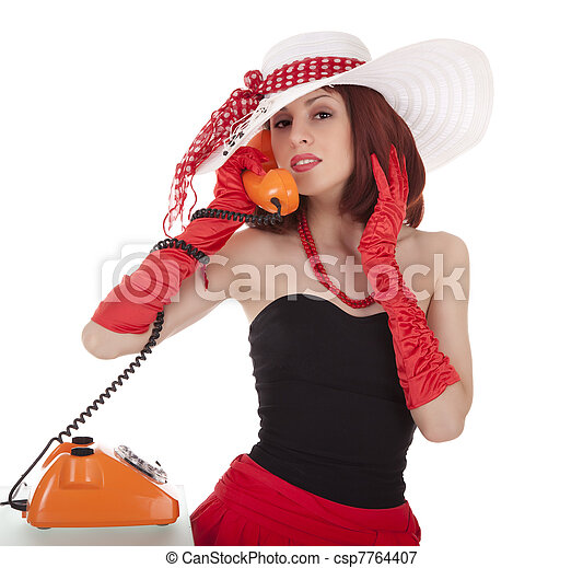 Fashion girl in retro style with vintage phone on white background - csp7764407