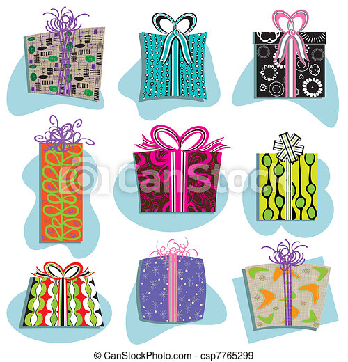 Retro Gift Boxes Icons  - csp7765299