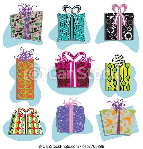 Retro Gift Boxes Icons  - csp7765299