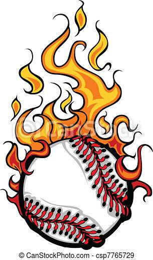 Baseball Softball Flaming Ball Vect - csp7765729