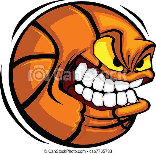 Basketball Face Cartoon Ball Vector - csp7765733
