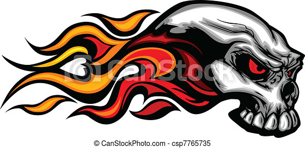 Flaming Skull Graphic Vector Image - csp7765735