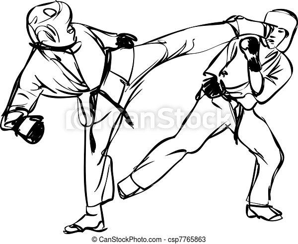karate kyokushinkai martial arts sports csp7765863 - Sports Drawing Pictures