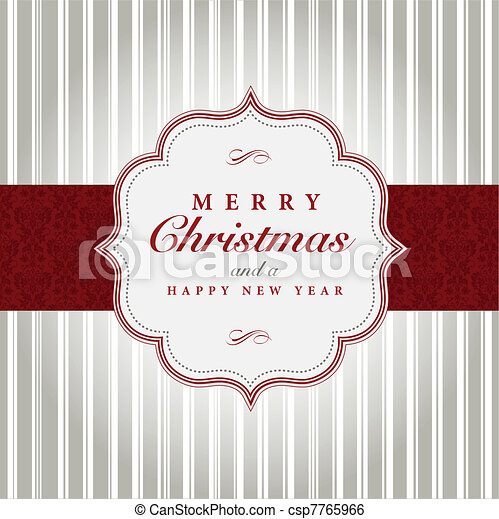 Vector Gray and Red Christmas Label - csp7765966