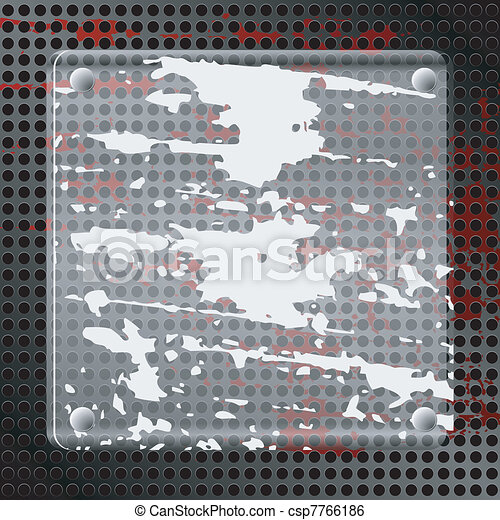 Vector illustration of abstract background with  a dirty glass plate and  a red spot - csp7766186