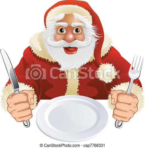 Santa Claus seated for Christmas Dinner - csp7766331