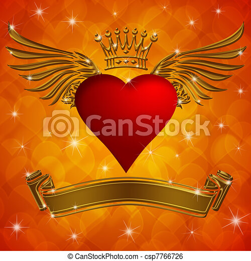 Valentine's Day Heart with Crown Wings and Banner - csp7766726
