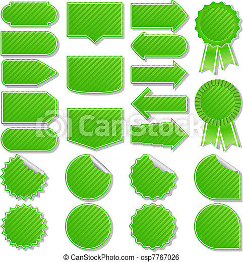 Vector Green Striped Price Tags - csp7767026