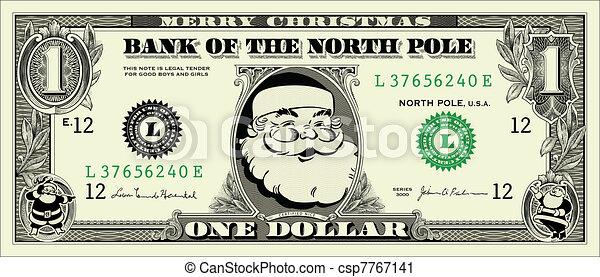 Vector - Vector Santa One Dollar Bill - stock illustration  royalty    Dollar Bill Icon Vector