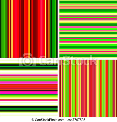 Four retro stripe backgrounds in bright colors  - csp7767535