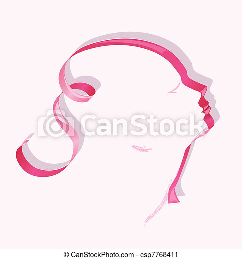 Female profile ribbon - csp7768411