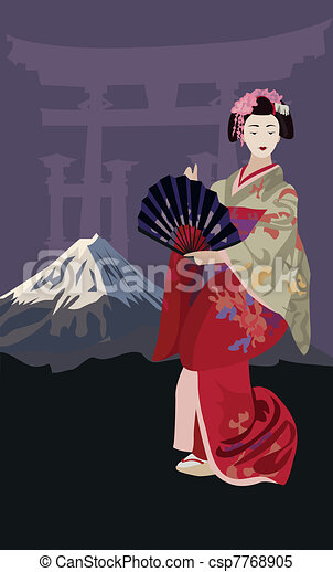 Geisha and Mount Fuji - csp7768905