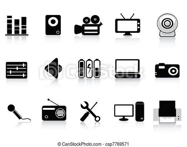 black audio, video and photo icons - csp7769571