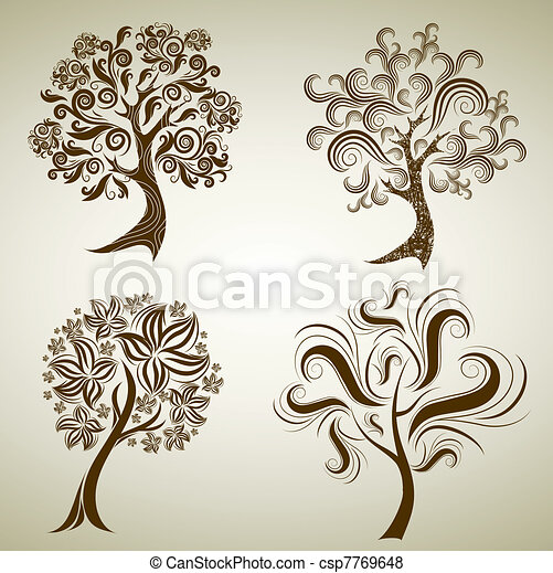 Vector set of designs with tree from leafs. Thanksgiving  - csp7769648