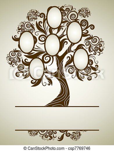 Stock Illustration of Vector family tree design with frames and ...