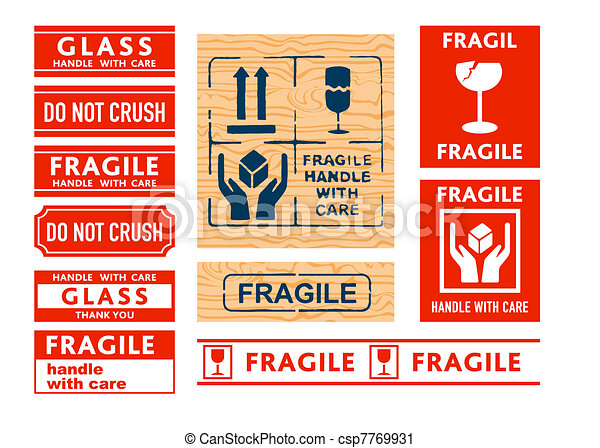 Handle with care stickers - csp7769931