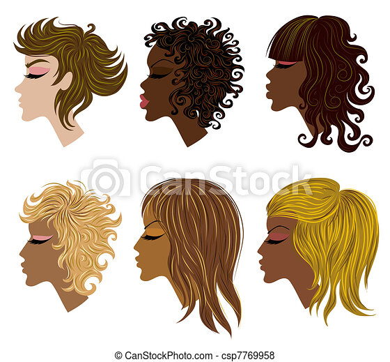 Vector set of trendy hair styling for woman - csp7769958