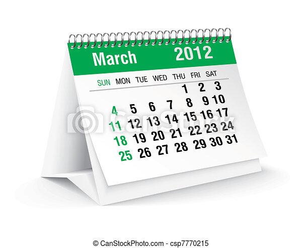 march 2012 desk calendar - csp7770215