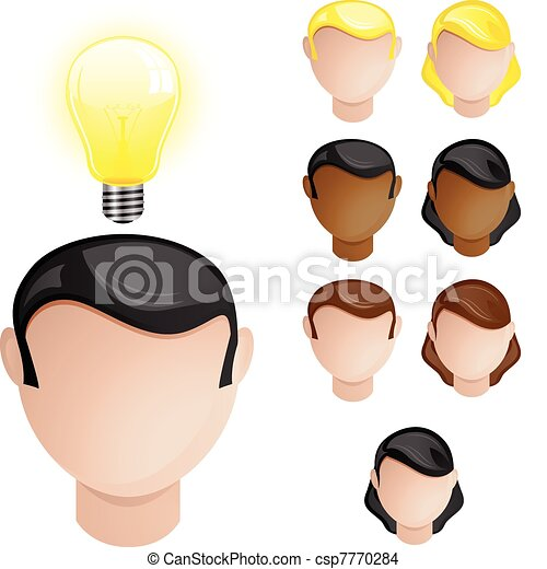 People Heads with Creativity Light Bulb - csp7770284