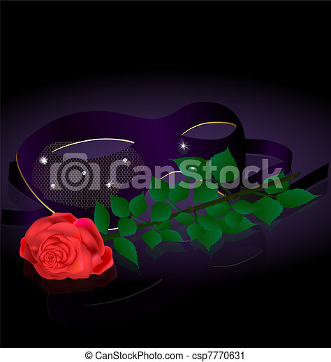 carnival half-mask and rose - csp7770631
