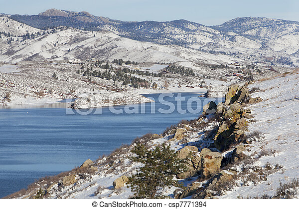 mountain lake in winter scenery - csp7771394